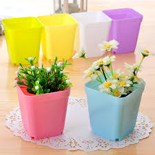 Plastic seven multicolour square meat small flower pot office desk small  flower pot e607