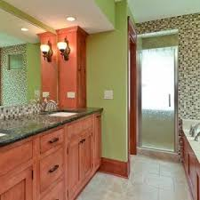 Black Bathroom With Green Walls Wooden Cabinets And Marble Countertops Angies List Best Paint For Master Bathroom Angies List