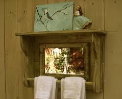 wood towel bar. Mirror Shelf - Reclaimed Wood Towel Bar For Bath Shabby Elegance French Country