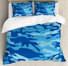 camouflage duvet cover set abstract camouflage costume concealment from the enemy hiding pattern decorative bedding set with pillow shams pale blue navy