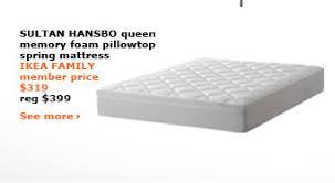 ikea sultan mattress price.  Sultan SULTAN HANSBO Queen Memory Foam Pillowtop Spring Mattress IKEA FAMILY  Member Price 319 Reg 399  Intended Ikea Sultan Mattress Price
