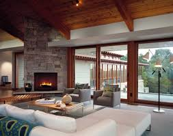 interior design ideas living room fireplace. Living Room:Welcoming Wood Ceiling Of Family Room With Sliding Patio Door Beside Stone Fireplace Interior Design Ideas A
