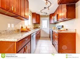 American Kitchen New Cherry Wood American Kitchen Interior Royalty Free Stock