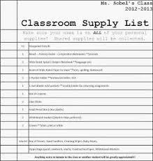 School Supplies List Template Free Editable Classroom Supply List Back To School