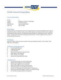How To Write A Syllabus Ent208 Technical Writing Syllabus