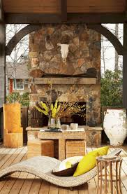 rustic outdoor stone fireplace ideas