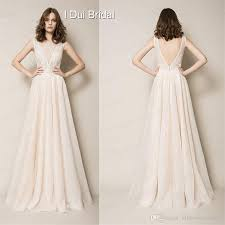 Simple Elegant Discount A Line Deep Neckline Simple Elegant Wedding Dress Light