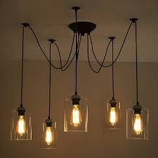 5 light swag pendant indoor ceiling fixture with clear glass shade takeluckhome com