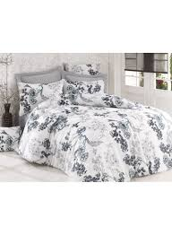 3 piece peony quilt duvet cover set white anthracite king
