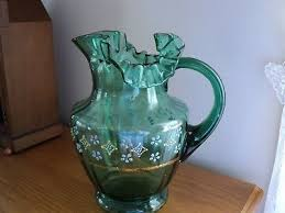 vtg fenton green glass pitcher ruffled edge hand painted little flowers perfect