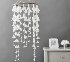 white lilly paper ceiling mobile