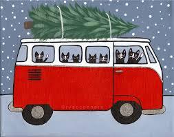 Red VW Bus Christmas Cats Original Folk Art by KilkennycatArt ...