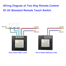 uk standard black 2 gang 2 way remote touch switch for smarthome wiring diagram of two way remote control of uk standard remote touch switch