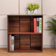 homcom wood small bookshelf 2 tier storage unit chest home office furniture walnut