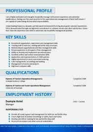 Resume Sample Template For Free Hospitality Curriculum Vitae