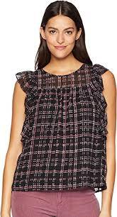 Cece Womens Ruffle Sleeve Sloan Plaid Blouse At Amazon