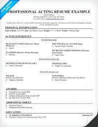 Acting Resume Examples For Beginners Examples Of Resumes