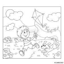 Small Picture Coloring Page Outline Of cartoon boy running with kite with dog