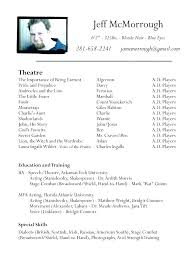 Theatre Resume Template Fascinating Actor Resume Format Musical Theatre Resume Template Awesome Actor