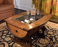 ... Coffee Table, Extraordinary Dark Brown Rectangle Farmhouse Wood Barrel  Coffee Table With Glass Top Designs ...