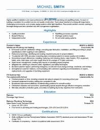 Plumbing Supervisor Resume Sample Elegant Construction Site