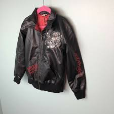 details about ed hardy kids black leather jacket authentic love kills slowly size 5 6