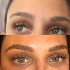 woman before and after eyebrow embroidery