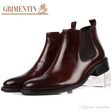 grimentin genuine leather mens boots fashion slip on pointed toe hot black brown dress mens ankle boots for brand formal men shoes brown ankle boots