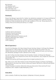Resume Templates: Fitness Club Manager
