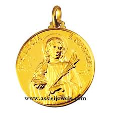18 kt gold saint lucy medal