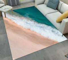 details about sand beach sea wave pattern area rugs kids bedroom living room floor mat carpet