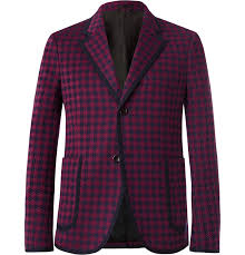 gucci burdy marco slim fit contrast tipped houndstooth woven suit jacket