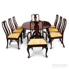 georgian style gany double pedestal dining table and a set of eight queen anne