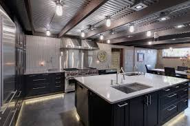 Corrugated Metal Interior Design Polished Concrete Flooring Under Cabinet Lighting Along Floor