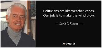 Weather Quotes Unique David R Brower Quote Politicians Are Like Weather Vanes Our Job