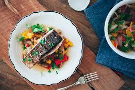 crispy sea b with roasted vegetables