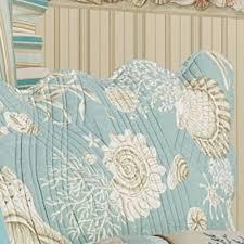 Natural Shells Coastal Quilt Bedding & Natural Shells Quilted Sham Aqua Standard Adamdwight.com