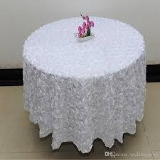 whole 120 inches white color wedding table cloth round overlays 3d rose petal round tablecloths wedding decoration supplier 3d rose flowers table cloths