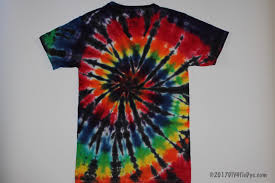 tie dyed t shirt dyed in a black and rainbow spiral pattern