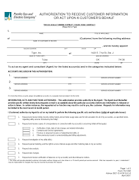Electric Electric Pge Authorization Form Pge