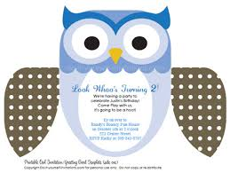 Printable DIY Kids Birthday Invitations: Cute Owl Invites printable kids birthday invitations blue owl