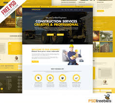 Construction Company Website Template Free Psd Construction