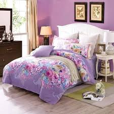 cherry blossoms bedding set duvet cover stripe flat sheet pillow cotton queen girl kids purple in