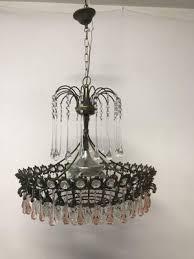 vintage italian murano glass crystal waterfall chandelier 1