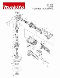 makita grinder parts. spare part list/exploded view makita ga 5020 grinder parts s