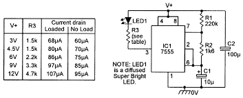 practical led indicator and flasher circuits nuts & volts 3 Prong Led Flasher Schematic circuit and performance details of a 7555 based micropower led flasher unit Plug in LED Flasher Kit