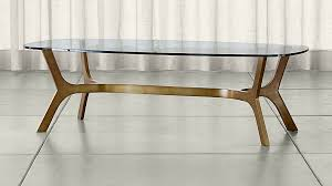 Elke Rectangular Glass Coffee Table With Brass Base ... Pictures Gallery