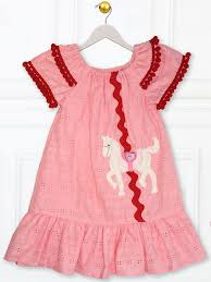 Peasant Dress Pattern Amazing CAROUSEL Easy Girls Peasant Dress Pattern Horse Applique