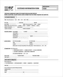 Printable Customer Information Form Free 8 Sample Customer Information Forms In Word Pdf
