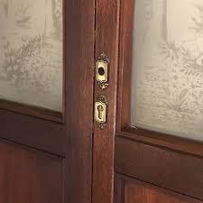 pair antique mahogany etched glass doors